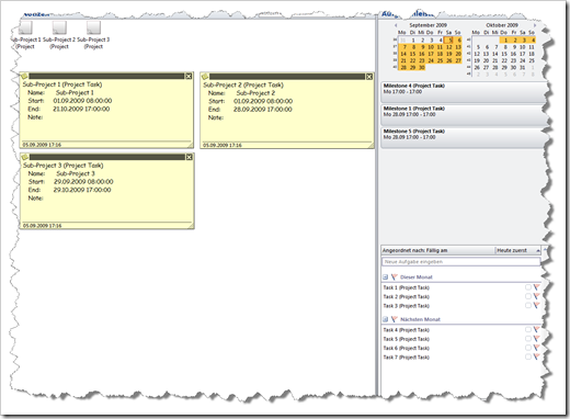 Outlook including project elements - click to enlarge