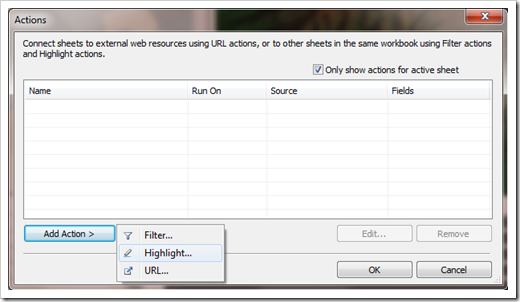 Actions Dialog - click to enlarge