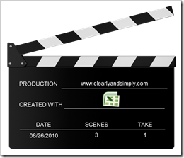 Actions - Clapperboard Excel