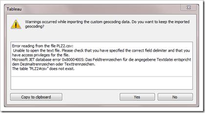 Warning message Import Custom Geocoding