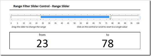 range filter slider control in microsoft excel
