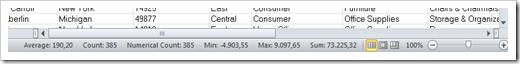 Microsoft Excel Status Bar