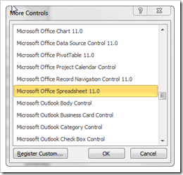 Microsoft Office Spreadsheet Control - click to enlarge
