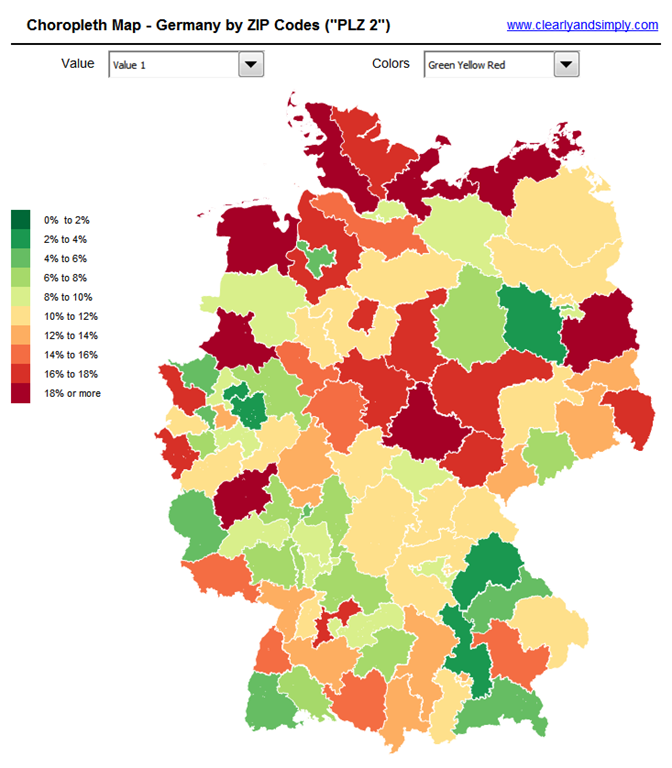 Create Excel Choropleth Maps from Shape Files  Clearly and Simply