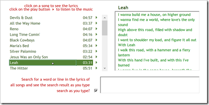 Track List and Lyrics - click to enlarge