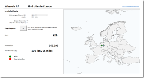 Geography Quiz in Excel