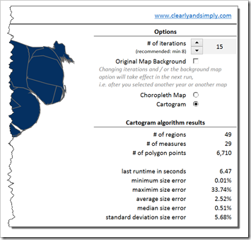 Cartograms in Excel: Options and Statistics 2 - click to enlarge
