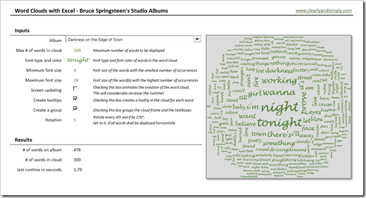 Bruce Springsteen Lyrics in an Excel Word Cloud (click to enlarge)