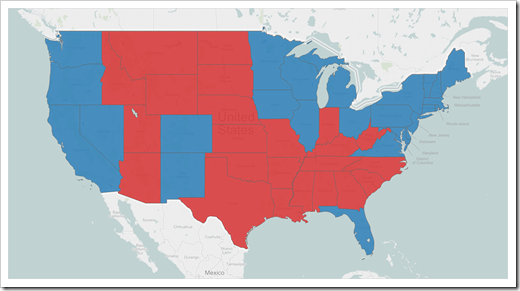 Filled Map - US Presidential Elections 2012