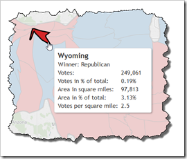 Wyoming on a Cartogram of the US Presidential Elections 2012