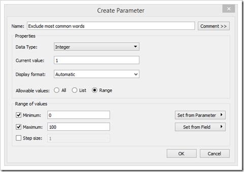 Word Cloud - Create Parameter