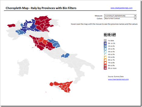 Map of Italy by Provinces with Filter