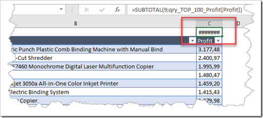Issue - Autofit Column Width obscures the Subtotal result