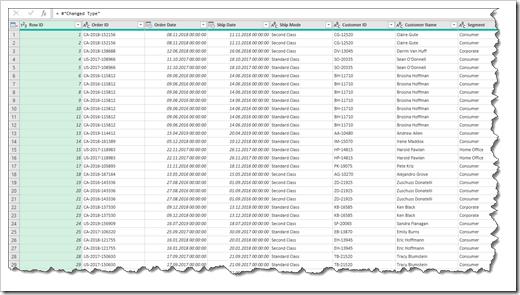 Table Original Data