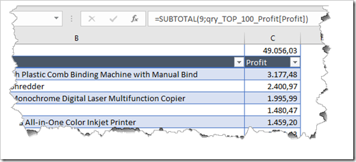 Subtotal Aggregation above the Query Table